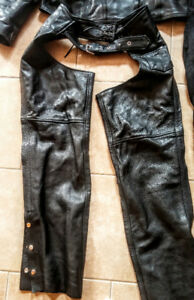 Motorcycle jacket, chaps and pants. Ladies size 14.