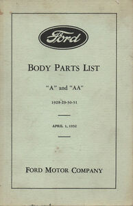 Model A Ford Body Parts List