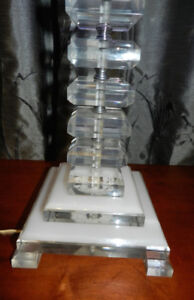 Real Deal Ghost Lucite Blocked Table Lamp+Damask Lampshade