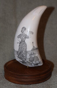 SCRIMSHAW ON OLD WHALE TOOTH NAUTICAL