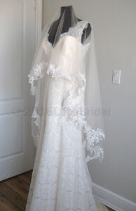 Brand new, blush cathedral lace veil