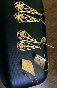 3 pairs of 10k gold earrings   30.00 each or all 3 for 75.00