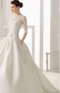 Rosa Clara Wedding Dress with long sleeves and detachable train