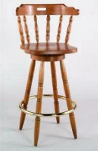 Solid Wood Vintage Swivel Bar Stool Honey Oak Color