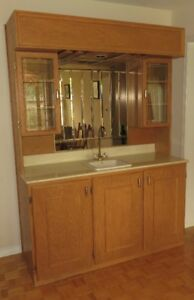 Wet Bar With Sink & Cabinets Oak Brass Marble Counter Mirror