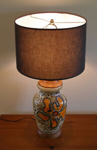 mid-century modern teak and pottery table lamp