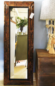 RUSTIC BARN BEAM MIRROR, HAND CRAFTED