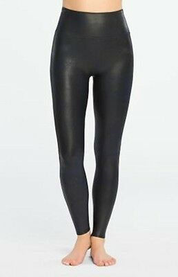 SPANX Women's Ready to Wow Faux Leather Leggings Black Large NWT $98
