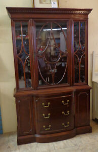 HESPELER FURNITURE ANTIQUE SERPENTINE CHINA DISPLAY CABINET is s