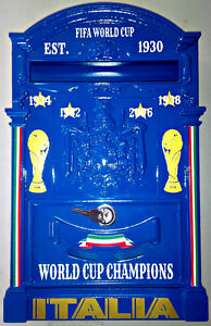 MADE ITALY VINTAGE STYLE CUSTOM ITALIA WORLD CUP STEEL MAIL BOX