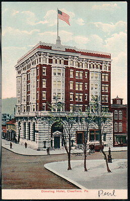 Clearfield Pa Dimeling Hotel Vintage Town View Postcard Early Old Street Pc