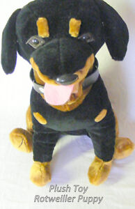 Vintage Plush Black Rottweiler puppy, large, excellent condition