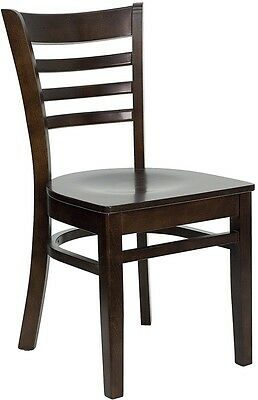 Walnut Wood Finished Ladder Back Restaurant Chair With Matching Wood Seat