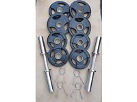 **BRAND NEW** OLYMPIC DUMBBELL HANDLES WITH 30kg OLYMPIC RUBBERISED TRI GRIP WEIGHT PLATES