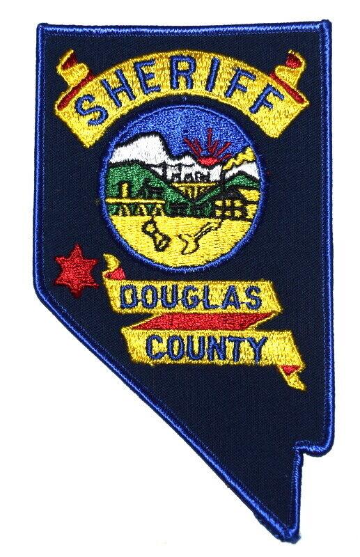 DOUGLAS COUNTY NEVADA NV Sheriff Police Patch – STATE SHAPE – MOUNTAIN SUNRISE ~