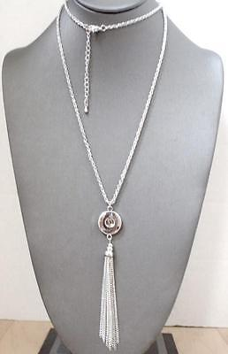 """Fits Ginger Snaps 34"""" SNAP NECKLACE Silver Tassel 18mm Magnolia Vine Jewelry"""