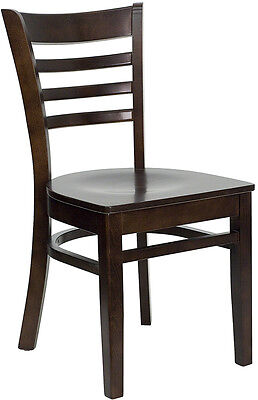 Wood Frame Walnut Finish Ladder Back Restaurant Chair w/ Matching Wood Seat