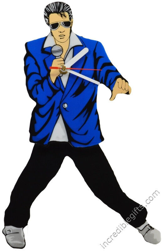 Elvis Presley Pendulum Blue Suit Wall Clock Swinging Legs and Hips Free Shipping