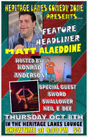 Comedian Matt Alaeddine at Heritage Lanes Comedy Zone Oct 8th