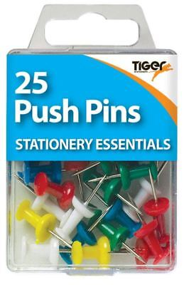 25 Coloured Push Pins Art Craft Cork Board Notice School Office Wall Drawing Pin