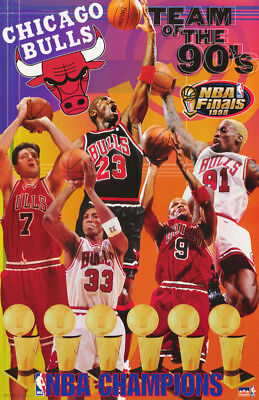 - POSTER:NBA BASKETBALL:CHICAGO BULLS - TEAM OF THE 90'S - FREE SHIP  #3543 RP60 J