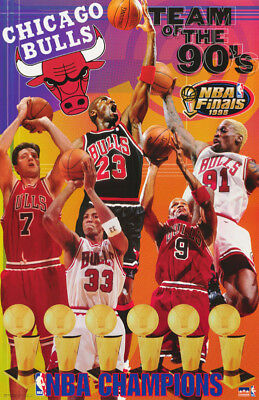 - LOT OF 2 POSTERS:NBA BASKETBALL:CHICAGO BULLS - TEAM OF THE 90'S  #3543   RP60 J
