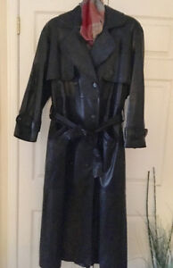 Gorgeous Leather Ranch long black leather Trench coat