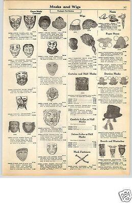 1928 PAPER AD 2 Sided Halloween Gauze Felix The Cat Clown Bo-PeepMasks - Felix The Cat Halloween Costume
