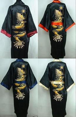 Double-Face Chinese Silk Men's Kimono Robe Gown Bathrobe Dress Pajamas -