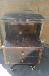 Antique Bedside Table Solid Wood Circa 1960's