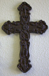 Cast Iron Wall Cross Scroll Old World Victorian Celtic Brown 10x6.5