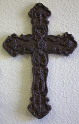 Cast Iron Wall Cross Scroll Victorian Celtic Brown 10x6.5