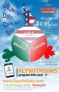 Prepaid SIM card for traveling in USA/ Mexico/ Canada
