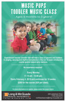 Music Pups Toddler Music Classes! Register at Long and McQuade!