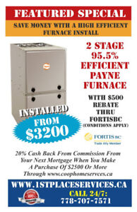 Mid Efficient 2009,  Carrier 88 000 BTU Furnace Installed