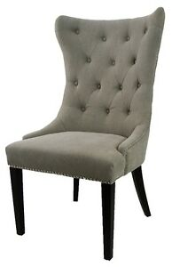 Tufted Accent Dining Chair in Vintage Linen in Grey