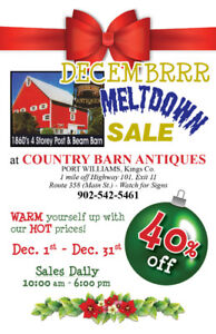 DECEMBRRR MELTDOWN SALE DEC 1st - 31st at COUNTRY BARN ANTIQUES