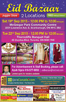 Biggest Eid Bazaar at Thorncliffe Banquet Toronto & Scarborough