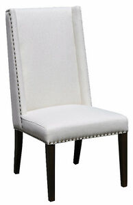 High Back Wing Dining Chair with Antique Brass Nail Head