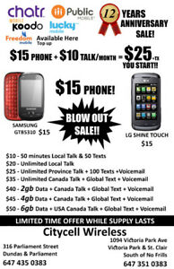 CHATR SALE! Unlimited talk $20 Phones from$15