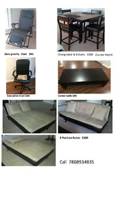 Dinning Table and Chairs/Futon/Executive Chair/Center Table