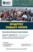 Homestay Families Needed for Summer - Thompson Rivers University