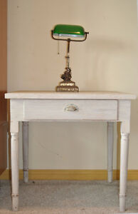 Antique Shabby Chic White Painted Desk Table with Drawer