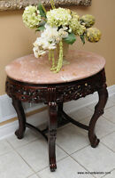 Vintage Marble Top Oval Hall / Occasional Table