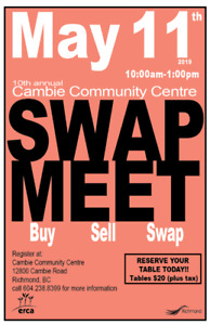 ***CAMBIE SPRING SWAP MEET - get your table today!