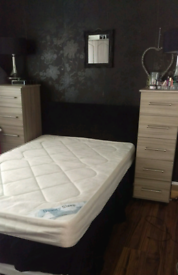 3/4 small double bed with headboard and storage drawer.