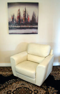 Handsome Cream Leather Club Chair SEE VIDEO