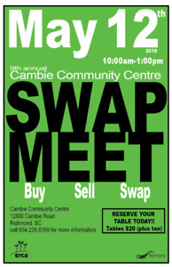 @@@CAMBIE SPRING SWAP MEET - get your table today! @@@