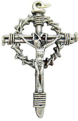 Crown Of Thorns Silver Plate Metal Pectoral Crucifix Pendant Cross 2.25