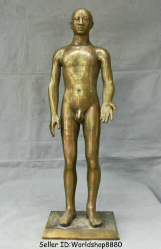 """24"""" Collect Rare Old Chinese Bronze Copper Stand Naked Man Human acupoint Statue"""